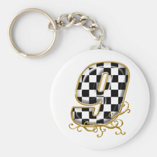 auto racing number 9 basic round button keychain
