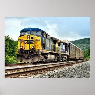 Auto Rack Train Poster