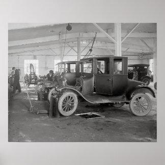 Auto Repair Garage, 1926. Vintage Photo Poster