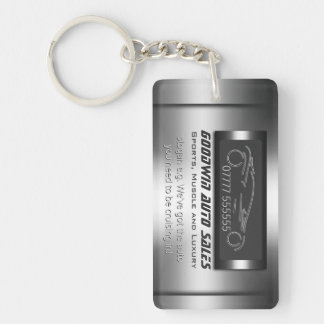 Auto Sales Giveaway - faux metal, silver auto Single-Sided Rectangular Acrylic Keychain