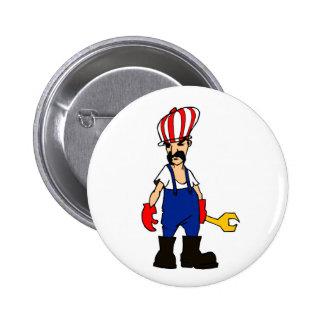auto service cartoon man car repair mechanic funny 2 inch round button
