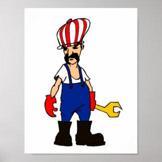 auto service cartoon man car repair mechanic funny poster