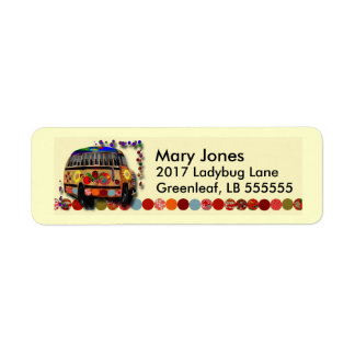 Autobus de coccinelle étiquette d'adresse retour