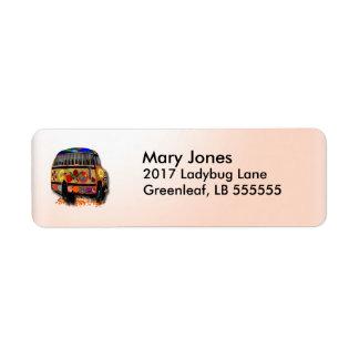 Autobus de coccinelle étiquettes d'adresse retour