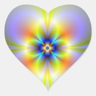 Autocollant au néon de coeur de fleur