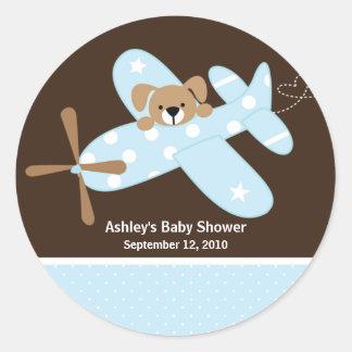 Autocollant bleu de baby shower d'avion