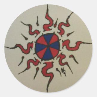 Autocollant bleu rouge d'équilibre de n