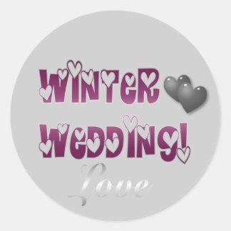 Autocollant d'argent de prune de mariage d'hiver