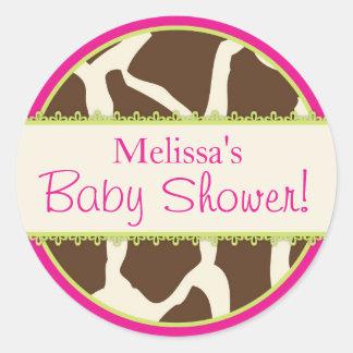 Autocollant de baby shower d'impression de girafe
