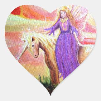 Autocollant de coeur d ange et de licorne