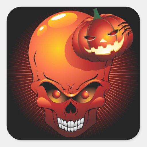 Autocollant de crâne et de citrouille de Halloween