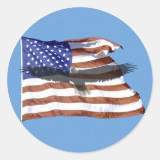Autocollant de drapeau et d'Eagle