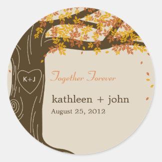 Autocollant de faveur de mariage de automne de chê