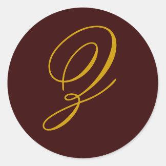 Autocollant de joint d'or du monogramme Z de