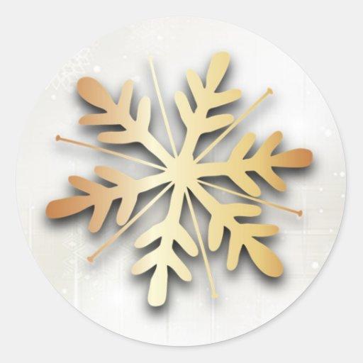 Autocollant de Noël de flocon de neige d'or