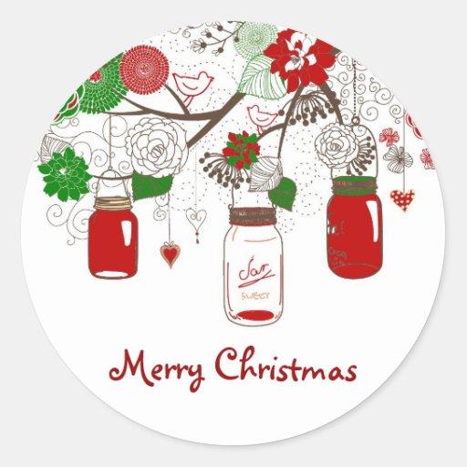 Autocollant de Noël de pot de maçon de pays