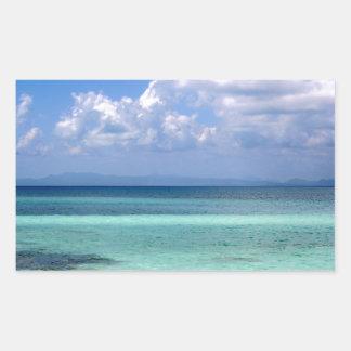 autocollant de rectangle avec la photo du littoral