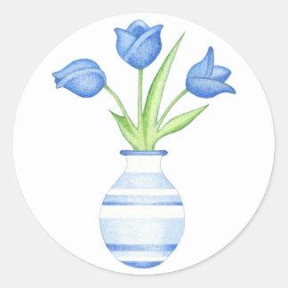 Autocollant de tulipes bleues