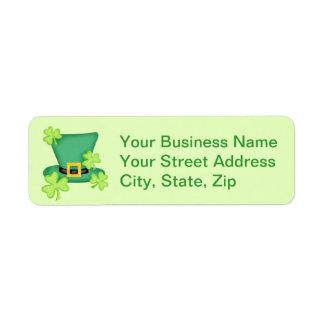 Autocollant de vert de chaux de shamrocks de étiquette d'adresse retour