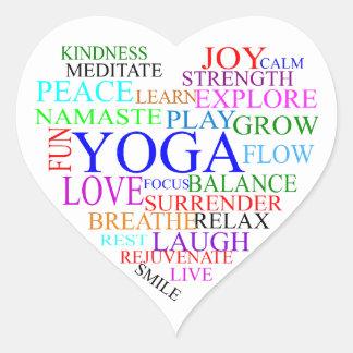 Autocollant de yoga de coeur