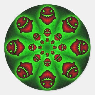 Autocollant éffrayant rouge et vert de fantômes