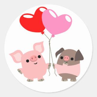 Autocollant embrouillé de coeurs (porcs de bande
