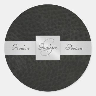 Autocollant en cuir noir de mariage de monogramme