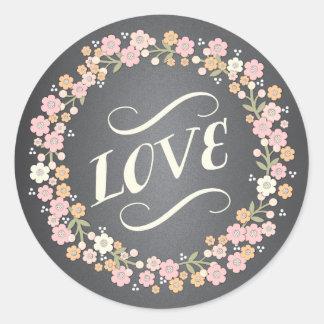 Autocollant floral d'amour de mariage de guirlande