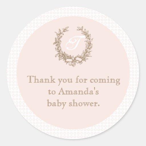 Autocollant français rose de faveur de baby shower
