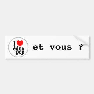 Autocollant I love educ pop pour voiture Adhésifs Pour Voiture