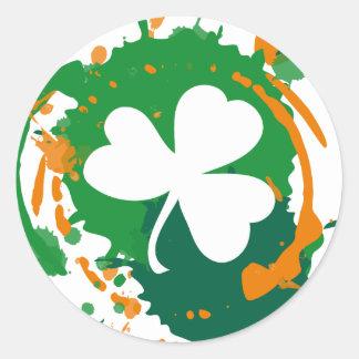 Autocollant irlandais de trèfle d'encre