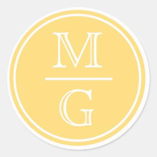 Autocollant jaune de mariage de monogramme