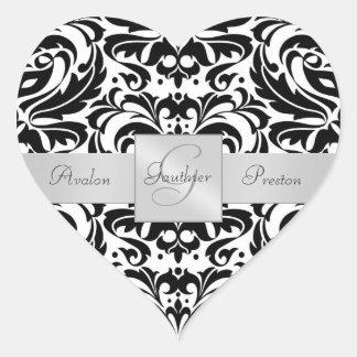 Autocollant noir et blanc de mariage de coeur de