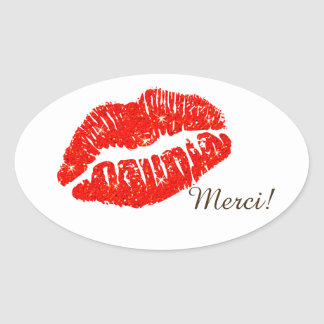 Autocollant oval Merci avec lèvres rouge Oval Sticker