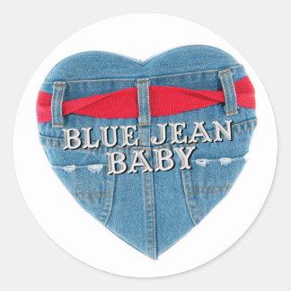Autocollant rond de bébé de blue-jean