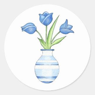 Autocollant rond de tulipes bleues