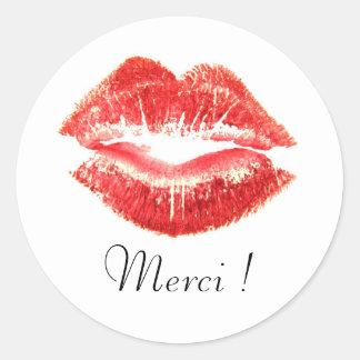Autocollant Rond Merci avec lèvres rouge Classic Round Sticker