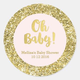 Autocollant rose de faveur de bébé de baby shower