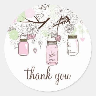 Autocollant vert de Merci de pots de maçon de rose