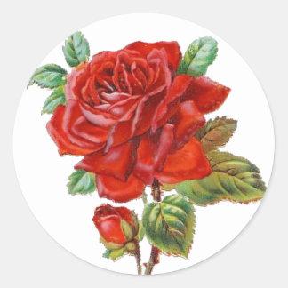 Autocollant vintage de rose rouge