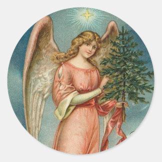 Autocollant vintage de vacances de Noël d'ange