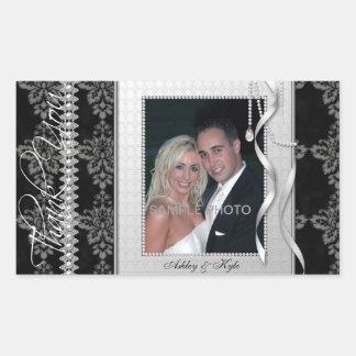Autocollants argentés de Merci de photo de mariage