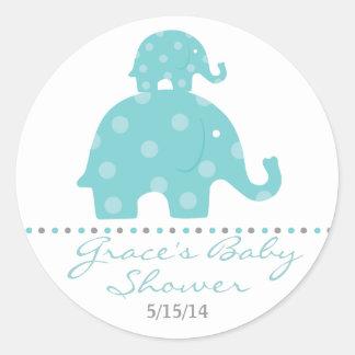 Autocollants bleus de faveur de baby shower