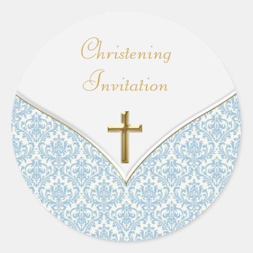 Autocollants bleus élégants de baptême de damassé
