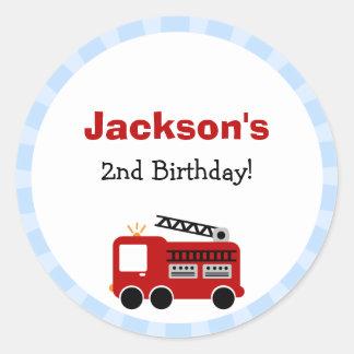 Autocollants d'anniversaire de camion de pompiers