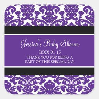 Autocollants de faveur de baby shower de damassé