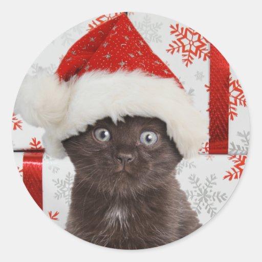 Autocollants de Noël de chaton