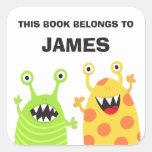 Autocollants drôles de livre d'ex-libris de monstr