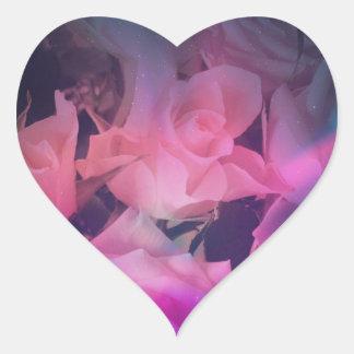 Autocollants en forme de coeur de rose de rose