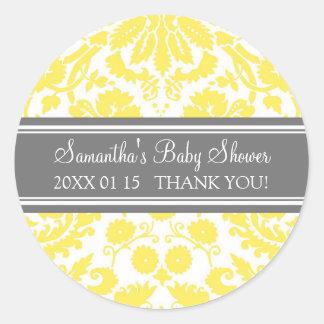 Autocollants gris jaunes de faveur de baby shower